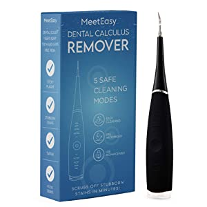 Electric Sonic Dental Calculus Plaque Remover Tool Kit - Tooth Scraper Tartar Removal Cleaner - Teeth Stain Eraser Polisher - Remove Tarter for Kids Adult - 100% Proven Safe