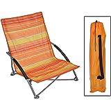 Lido - Silla de playa plegable, estructura de acero, diseño de rayas, color naranja y amarillo