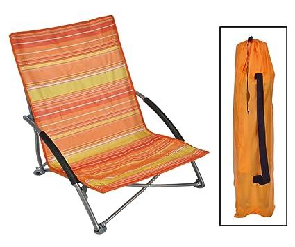 Unbekannt Silla de Playa Lido Plegable, Estructura de Acero, Funda Naranja/Amarillo Rayas