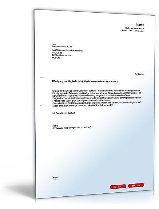 Kündigung Mitgliedschaft Schwimmverein Pdf Download Amazonde