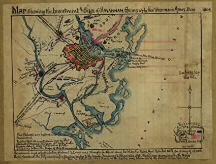 Map Of Georgia Landforms.Amazon Com Map 1864 Showing The Investment And Siege Of Savannah