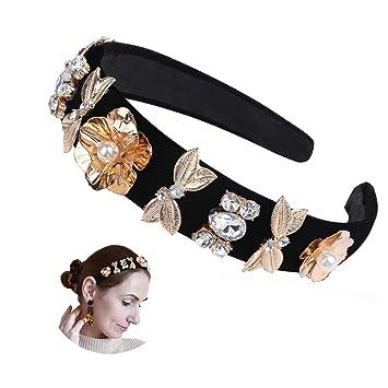Women/'s Crystal Headband Hairband Wide Hair Band Hoop Accessories Bead Headpiece