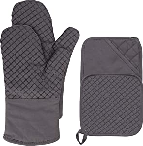 PROCIRCLE Oven Mitts and Pot Holders Set of 2 Kitchen Oven Mitts 500℉Heat Resistant Silicone Cotton Oven Mitts Non-Slip Surface for Cooking Baking BBQ with 4Pcs Free Pothook (Grey)
