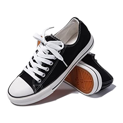 e47c2e05be7ee AOMAIS Womens Fashion PU Leather Sneakers Low Top Lace up Canvas Shoes