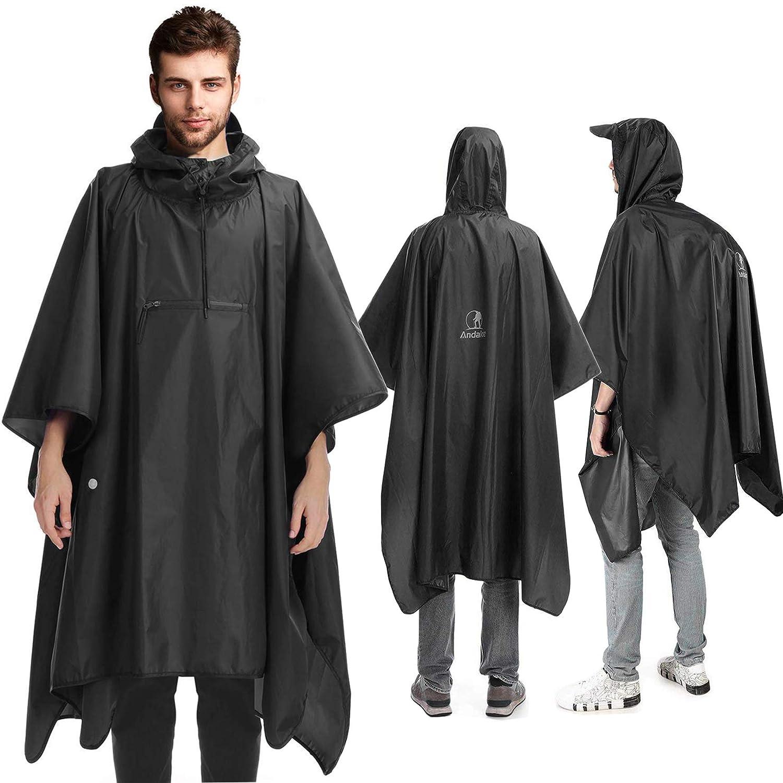 Andake Raincoat, Rain Poncho for Women Men PU 8000 MM, Adjustable Neckline on