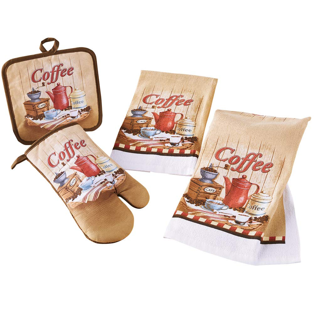 Collections Etc Coffee Lover Kitchen Set Includes an Oven Mitt, Pot Holder and Two Hand Towels - Set of 4