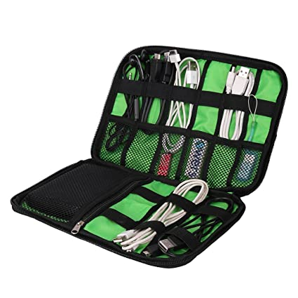 32595e34140a Amazon.com  Black Cable Organizer Electronics Accessories Travel Bag USB  Drive Bag Healthcare   Grooming Kit  Computers   Accessories