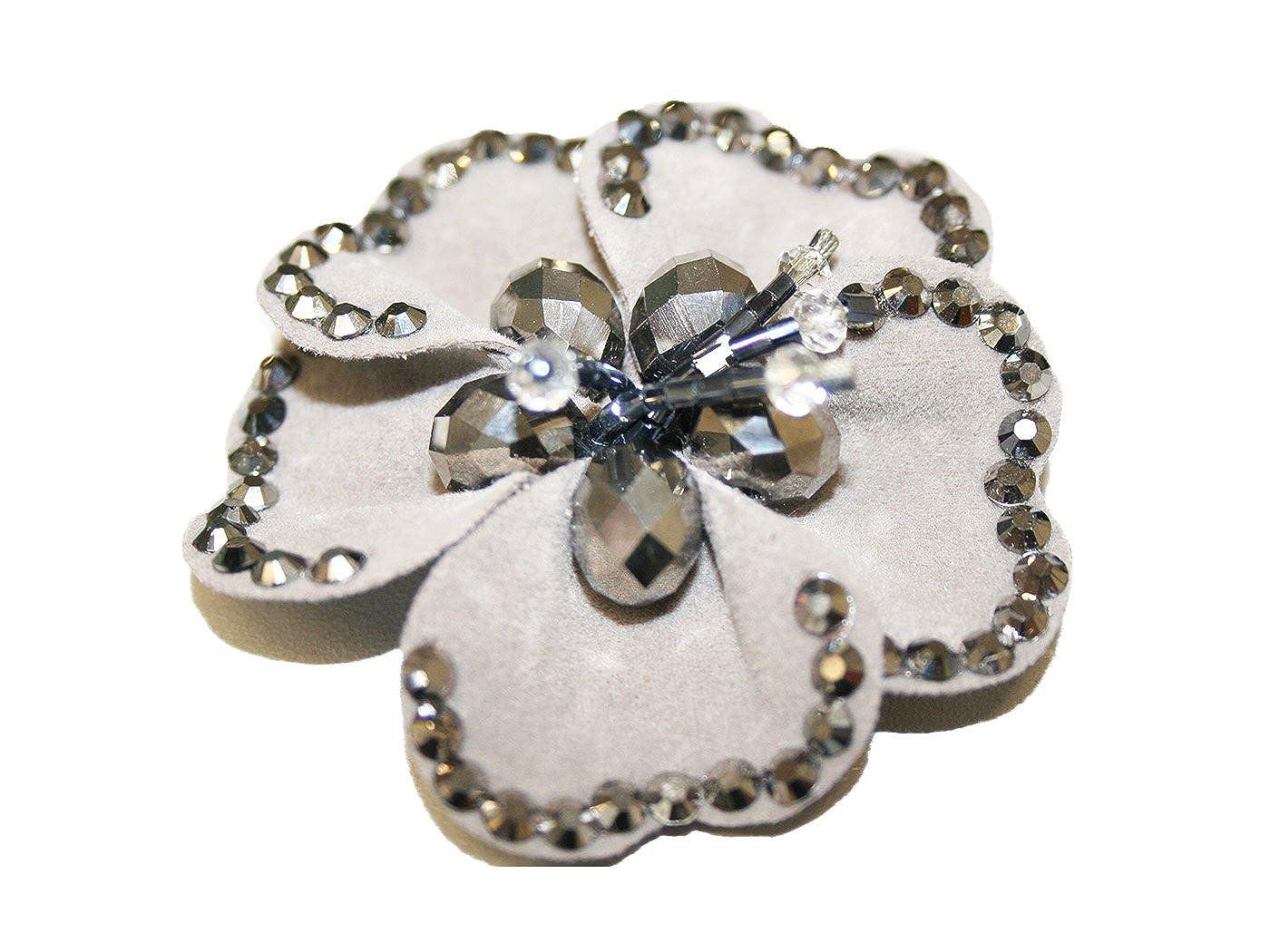 La Loria Accessoires Femme 2 Clips pour chaussures Blink Flower Amovible Accessoires Bijoux clip gris-argenté E 270