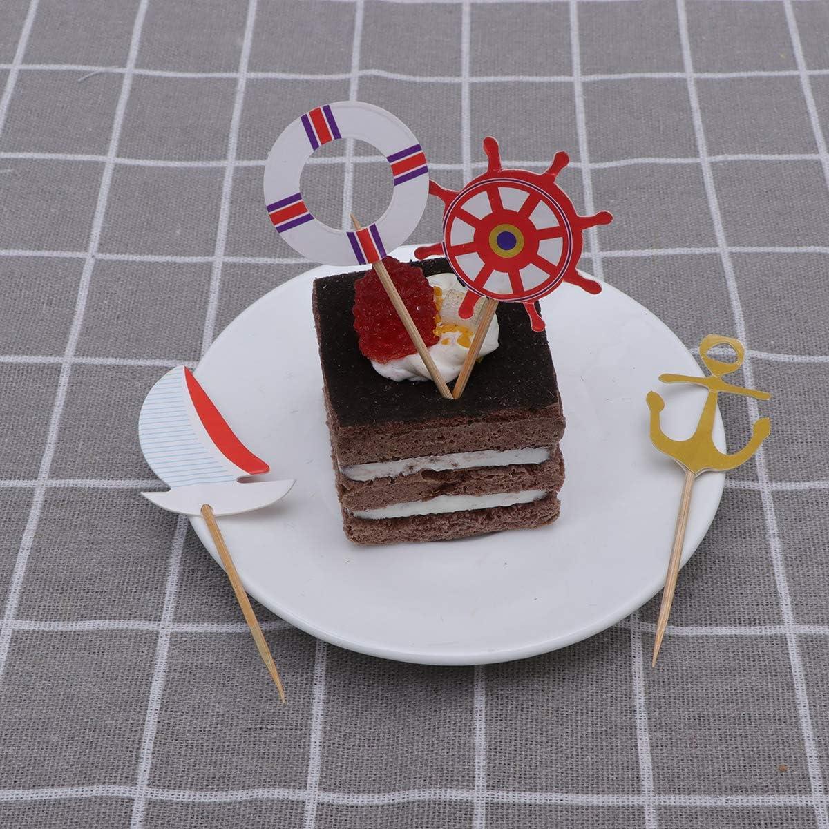 Amosfun 24 piezas de decoración náutica para tartas, barco, timón ...