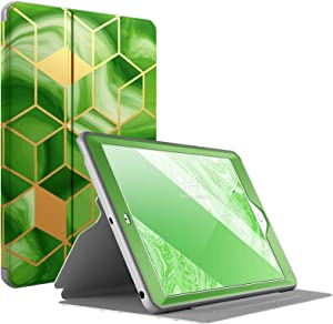Popshine Marble Series Designed for iPad 10.2 7th Gen 2019 & 8th Gen 2020 Tablet Case, Full Body Premium Stylish 360 Degree Protective Folio Cover with Built-in Screen Protector, Liquid Marble Green