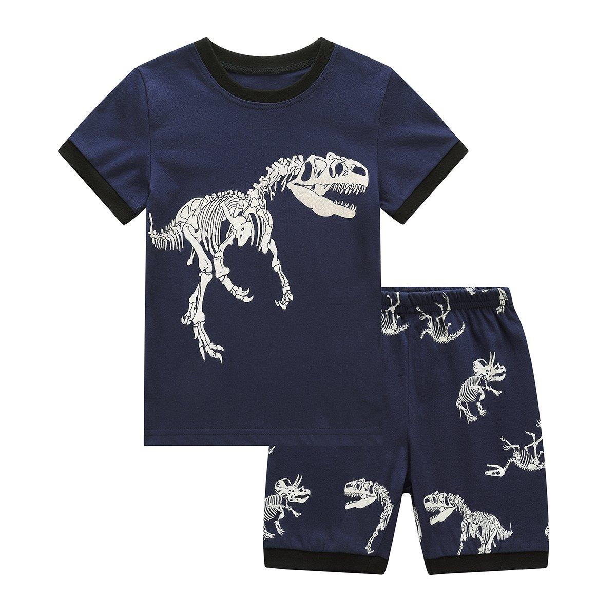 Koian Little Boys Short Pajamas Sets Toddler PJS Cotton Kids Sleepwears (Blue Dinosaur, 2T)