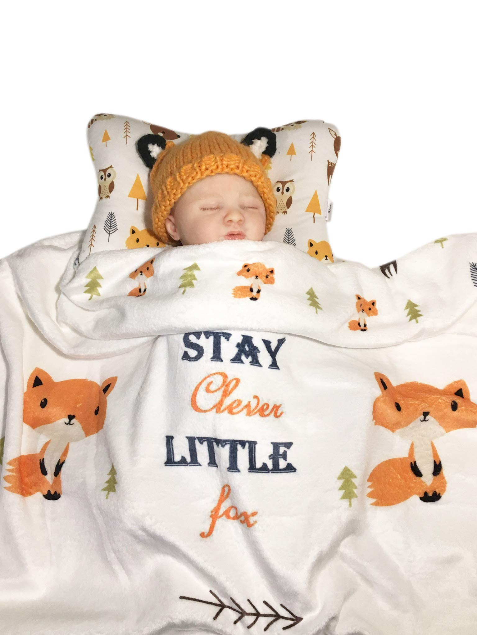 Head Shaping Baby Pillow with Clever Fox Fleece Blanket (2 Pc. Set) Ergonomic Support to Help Prevent Flat Head Syndrome | Newborn Infant Sleeping Comfort by Bling Mami