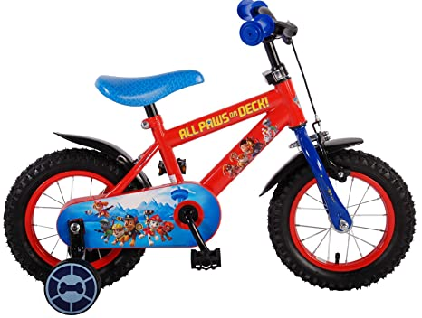 7cdc7d7d7f1350 Bici bicicletta bambino 3 4 5 anni Paw Patrol 12 pollici con ruotine rosso  blu DI