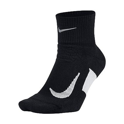 new product 93f42 d0cd7 NIKE Unisex Spark Cushion Quarter Running Socks, Black White White, Size 4