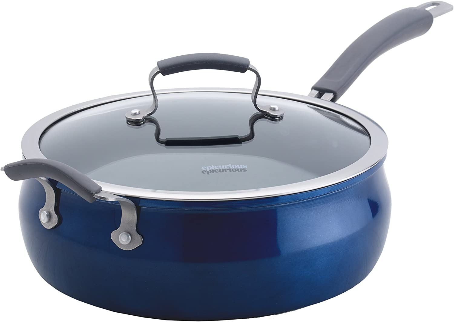 Epicurious Cookware Collection- Dishwasher Safe Oven Safe, Nonstick Aluminum 6 Quart Arctic Blue Covered Jumbo Cooker
