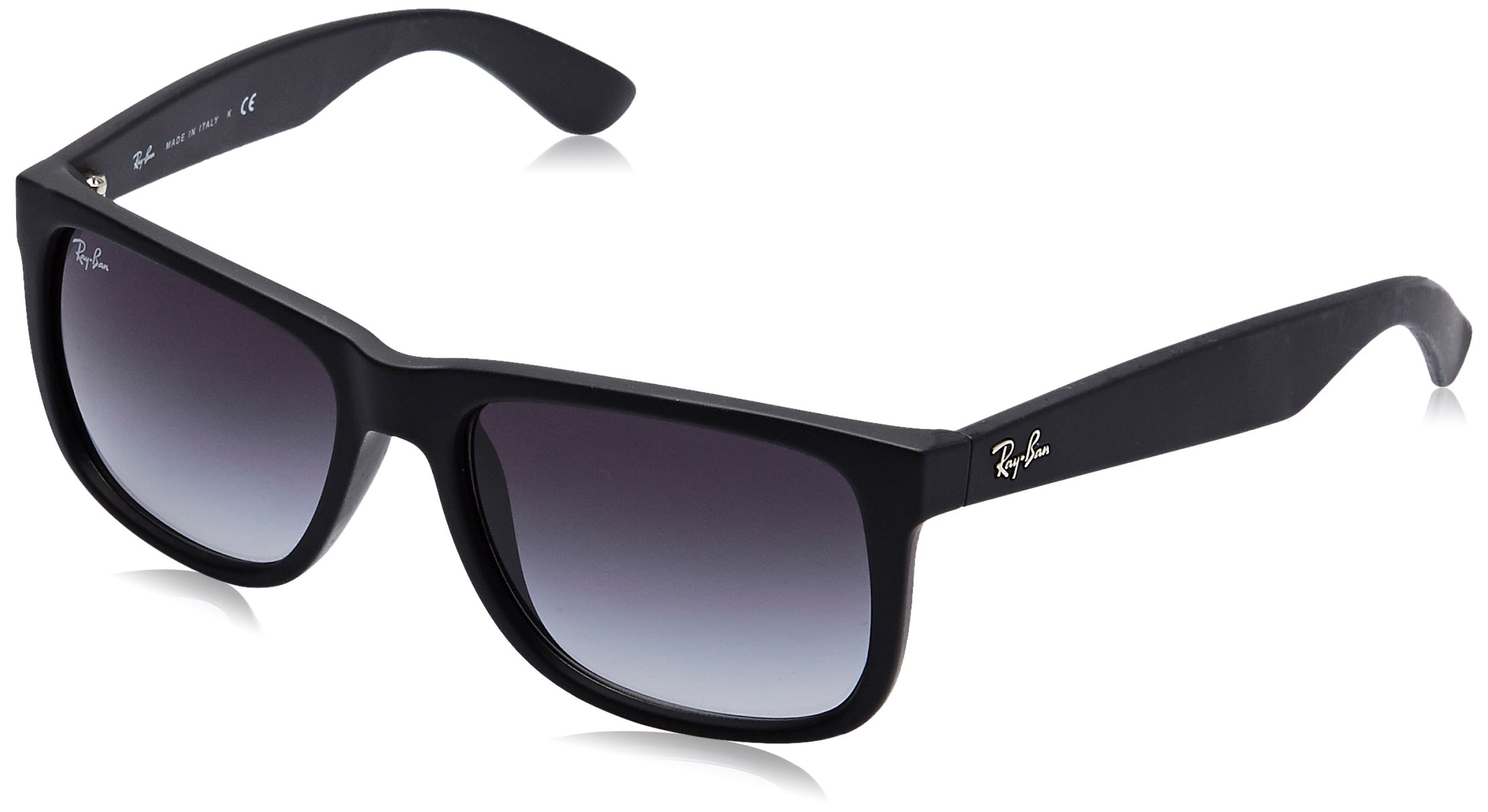 RAY-BAN RB4165 Justin Rectangular Sunglasses, Black Rubber/Grey Gradient, 55 mm by Ray-Ban