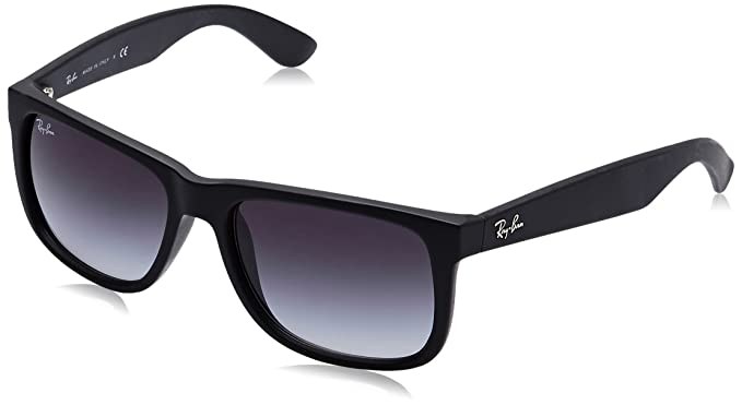 Amazon.com: Ray-Ban JUSTIN - RUBBER BLACK Frame GREY ...