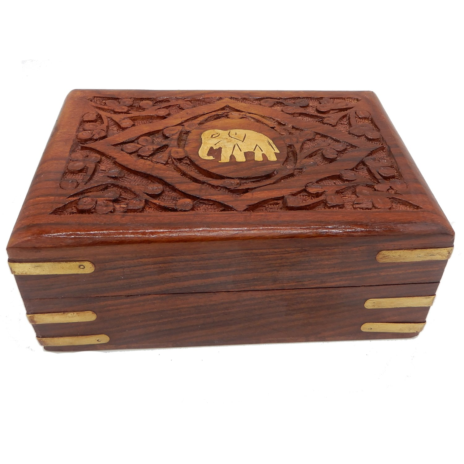 Gorgeous Hand Carved Sheesham Wood Trinket Jewelry Box with Elephant Inspired Brass Inlay & Velvet Interior Ideas 7 X 5 Inch