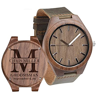 Personalized Engraved Mens Wooden Watches Leather