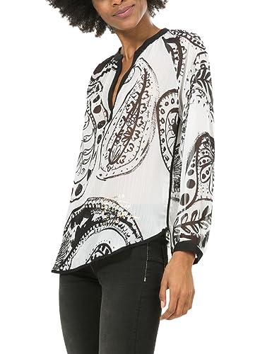 Desigual Relax, Blusa para Mujer, Blanco (Blanco 1000), 32 (Talla del Fabricante: XS)