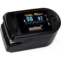 Pulsoximeter PULOX PO-200A mit zuschaltbarer Alarmfunktion und Pulston inkl. Zubehör in schwarz