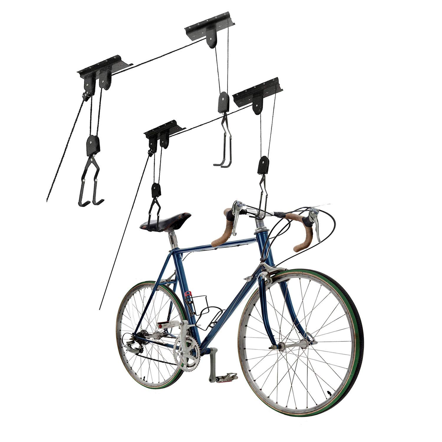 Great Working Tools Bike Hoists Set of 2, Hanging Ladder Lifts - Garage Ceiling Mount 55 lb Capacity Heavy Duty Hooks and Pulleys - Convenient Bicycle or Ladder Storage Hangers by Great Working Tools