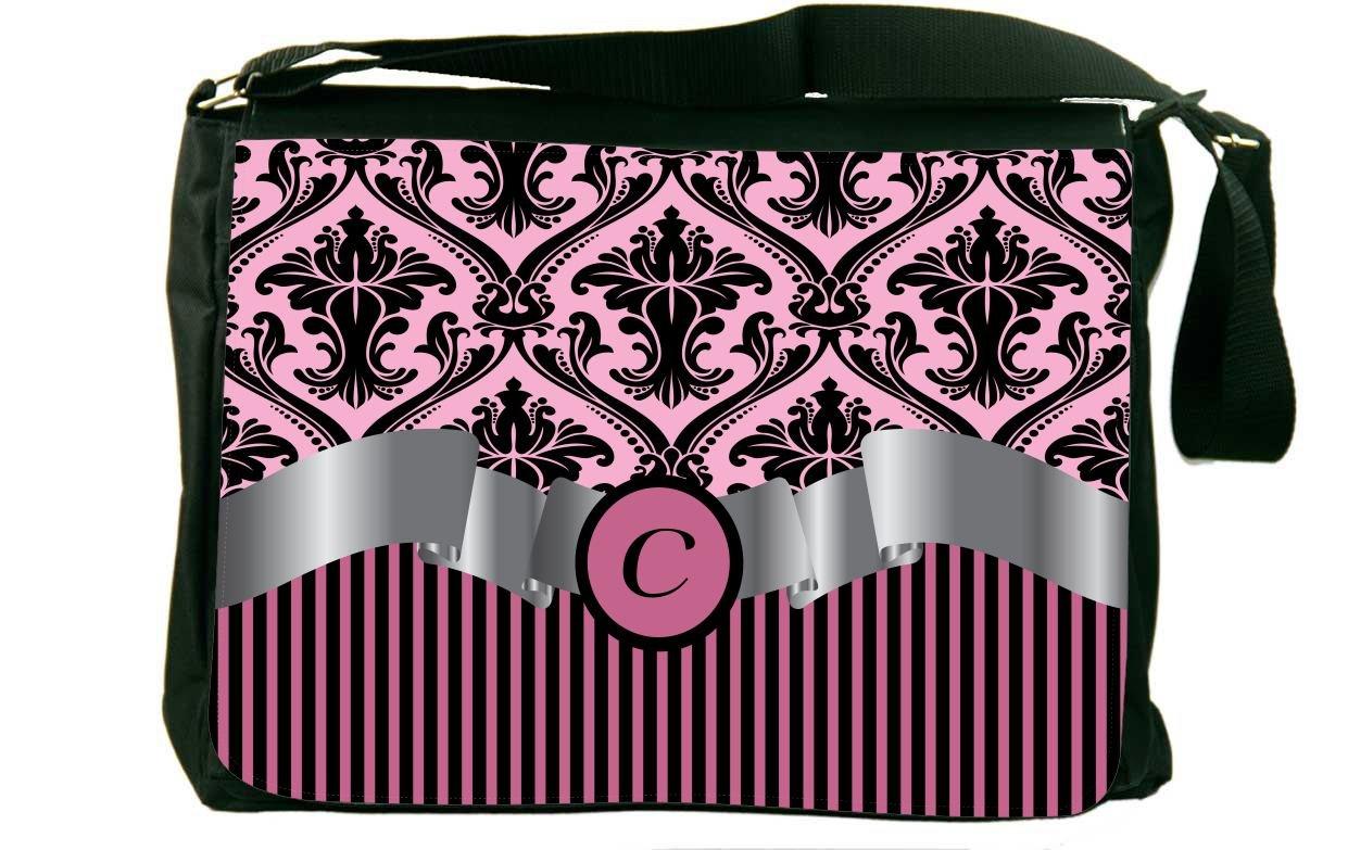 Rikki Knight LetterC Light Pink Damask /& Stripes Monogrammed Design Messenger School Bag mbcp-cond2070