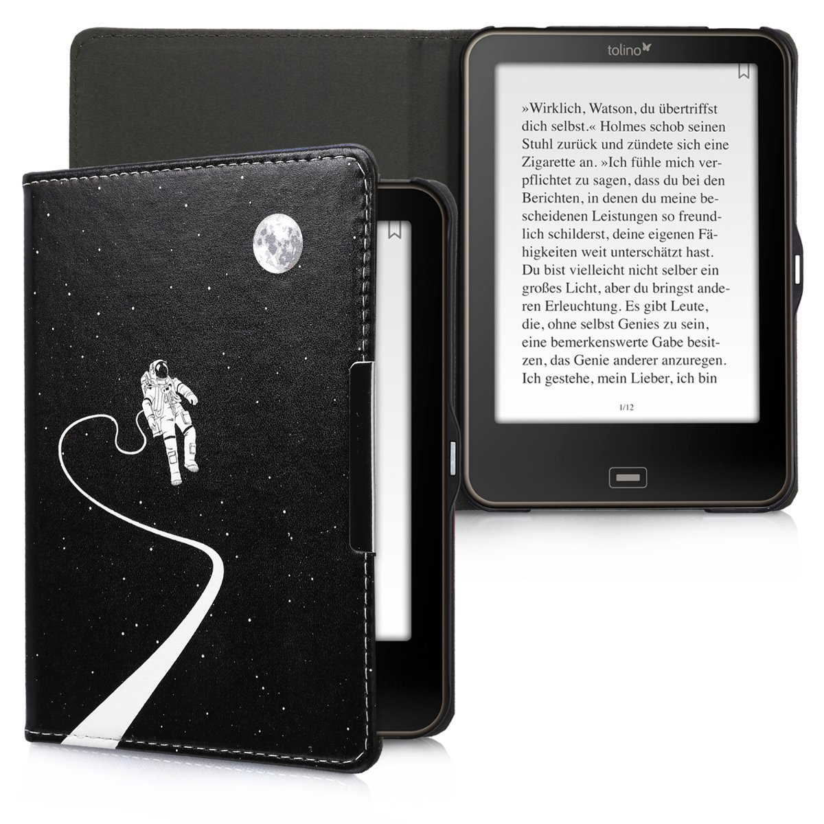 kwmobile Case for Tolino Shine 2 HD - Book Style PU Leather Protective e-Reader Cover Folio Case - white black by kwmobile (Image #6)