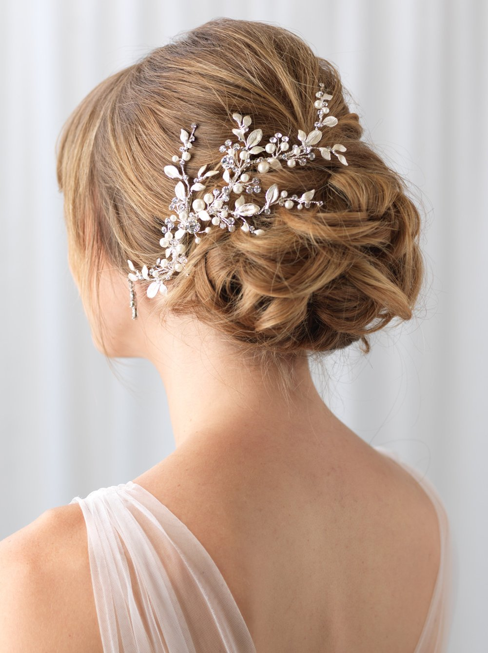 USABride Wedding Comb Sliver-Plated Vine Bridal Headpiece Simulated Pearls Rhinestones Hair Clip TC-2313-S (Silver)