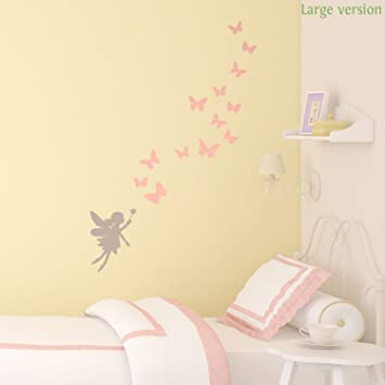 Charmant Fairies And Butterflies Wall Sticker By Stickerscape (Large Size)   46cm X  83cm