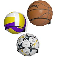 Wallniture Punto Soccer Ball, Volleyball and Basketball Holder Wall Mount Ball Organization and Storage Rack Set of 3…