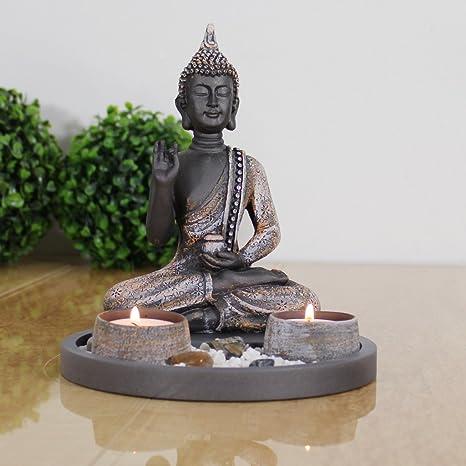 dszapaci Buddha Sitzend mit Teelicht 22cm Deko-Statue für Wohnzimmer ...