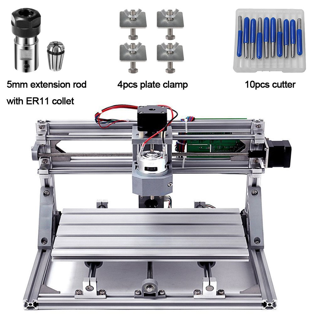 DIY CNC Router Kits 3018 GRBL Control 3 Axis Plastic Acrylic PCB PVC Wood Carving Milling Engraving Machine, XYZ Working Area 300x180x45mm CNC Router Machine with 5mm Extension Rod ER11 Collet by Beauty Star