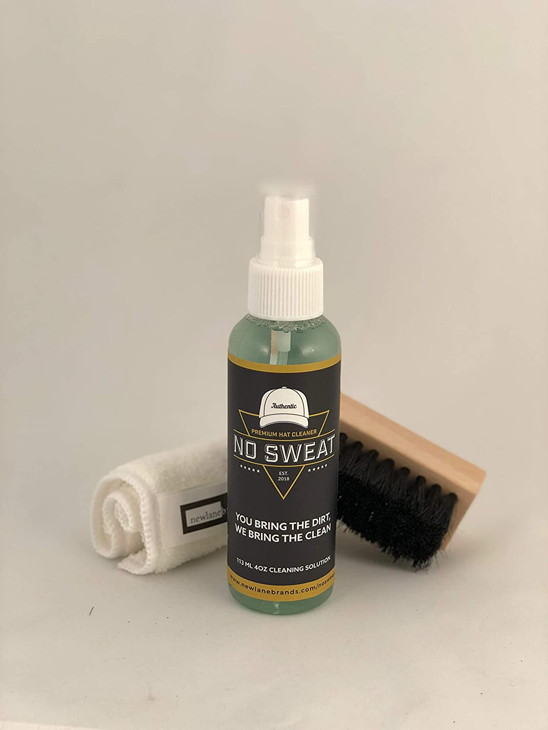 Amazon.com: No Sweat Premium Hat Cleaner. Includes 4 OZ of Cleaning Solution, Microfiber Cloth, & SOFT Bristle Brush. Works great on all of your favorite ...
