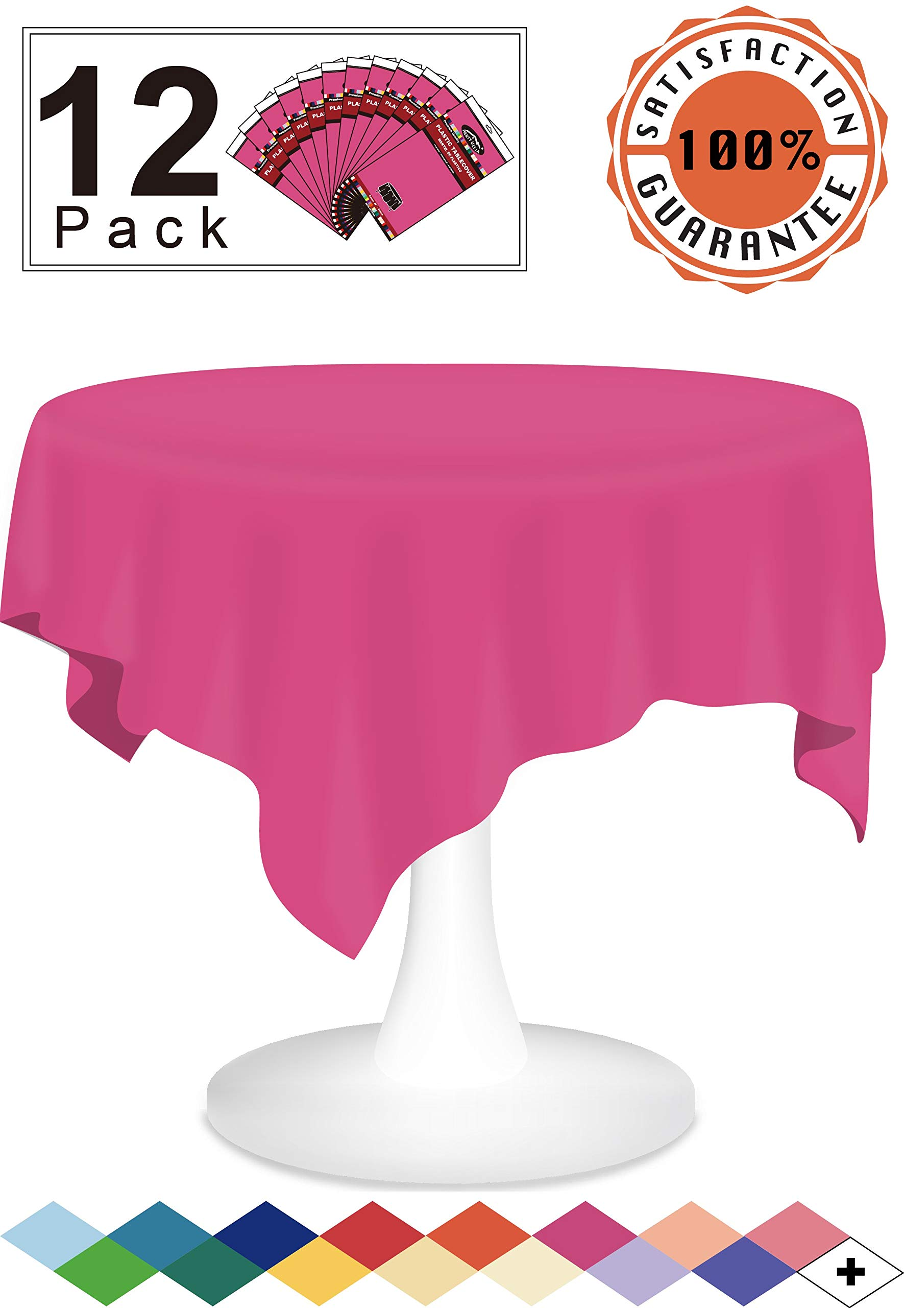 Cerise Plastic Tablecloths Disposable Table Covers 12 Pack Premium 84 Inches Round Table Cloths for Round Tables up to 6 Feet and for Picnic BBQ Birthdays Weddings any Events Occasions, PEVA Material by party ulyja