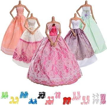 Asiv 5 Pezzi Moda Vestito Da Principessa 12 Paia Di Scarpe Abiti Festa Di Matrimonio Per Bambola Barbie Amazon It Giochi E Giocattoli