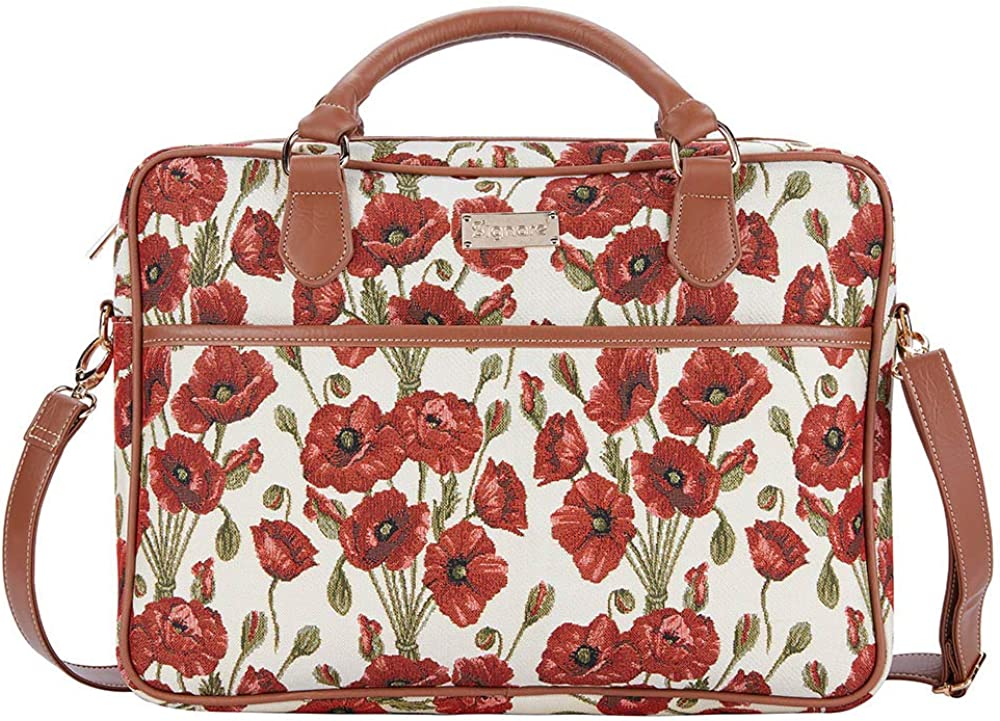 Signare Tapestry Laptop bag 15.6 computer messenger bag briefcase for Women with Floral Pattern Poppy Design (CPU-POP)