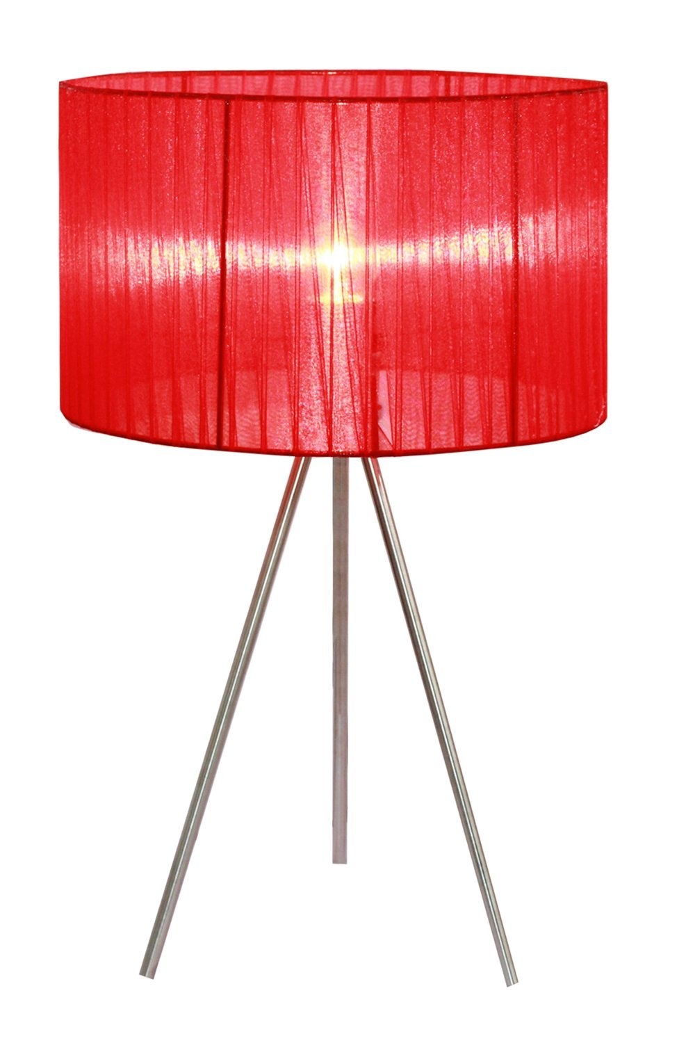 Simple Designs Home LT2006-RED Brushed Nickel Tripod Table Lamp with Pleated Silk Sheer Shade, 11.81'' x 11.81'' x 19.69'', Red