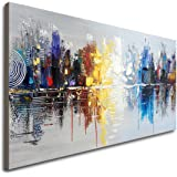 Large Hand Painted Abstract Reflection Cityscape Canvas Wall Art Modern Oil Painting Contemporary Decor Artwork (60 x 30…