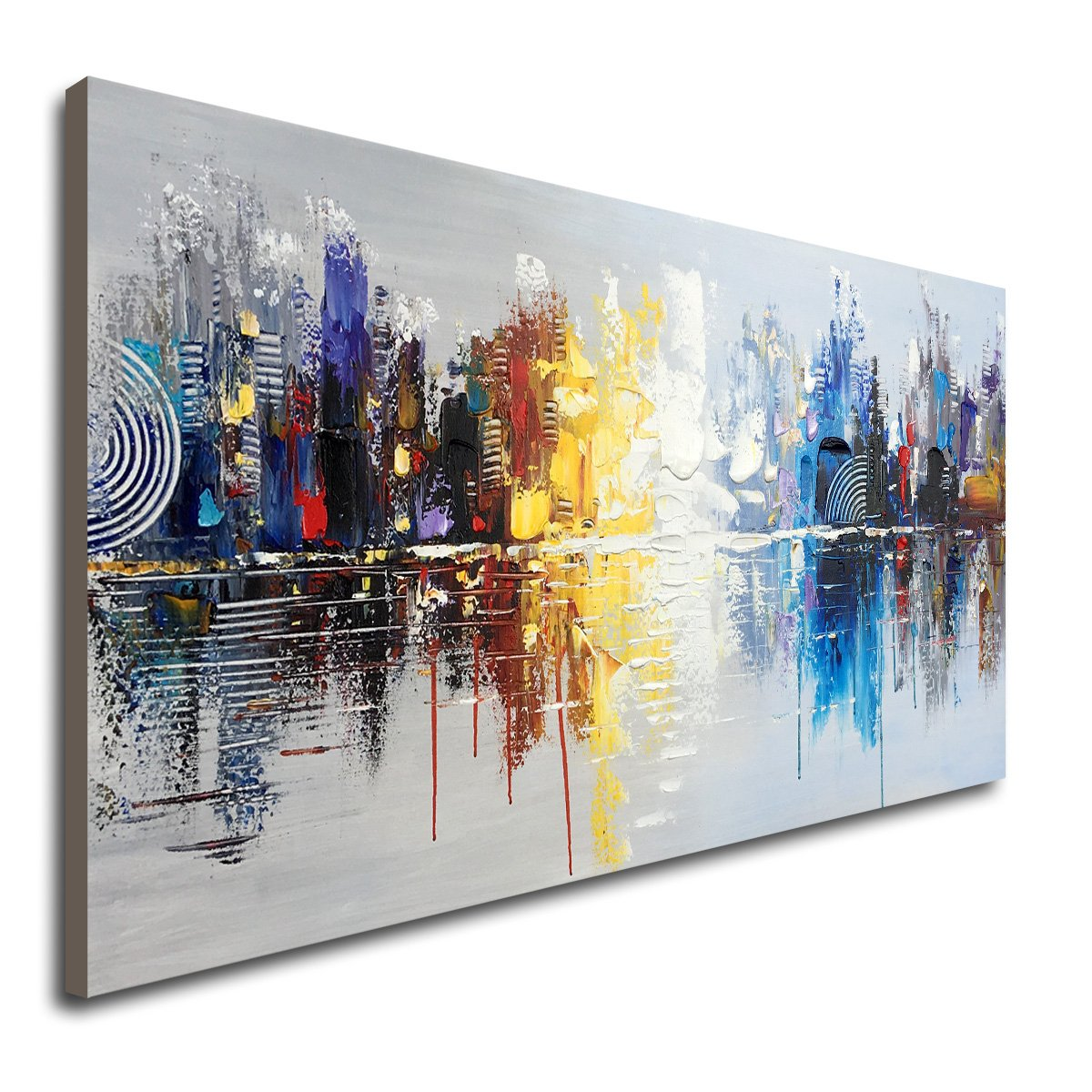 Amazon com hand painted cityscape modern oil painting on canvas reflection abstract wall art decor 48 x 24 inch paintings