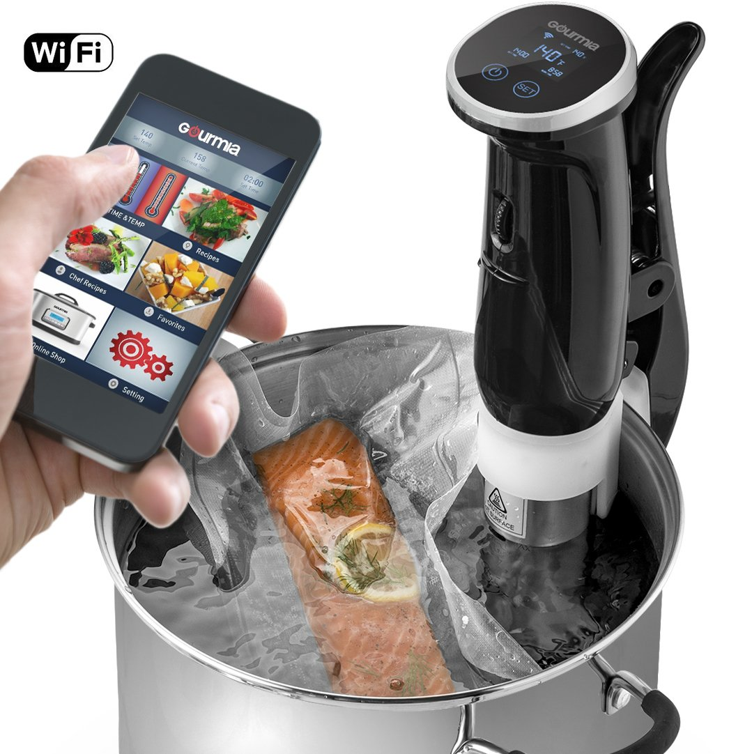 Gourmia GSV150 WiFi Sous Vide Cooker Immersion Pod - 3rd Generation - Powerful & Accurate - App Controlled -1200W - Black - ETL Listed - Free Recipe Book by Gourmia