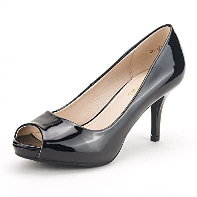 Low Heel Peep Toe Shoes