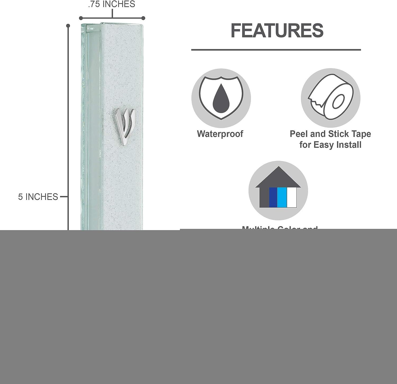 A/&S Mezuzot Modern Glass Mezuzah Case in Shatterd Glass Design Waterproof Judiaca Door Mezuzah Home Blessing and Protection Cover Light Blue, 5 Inches