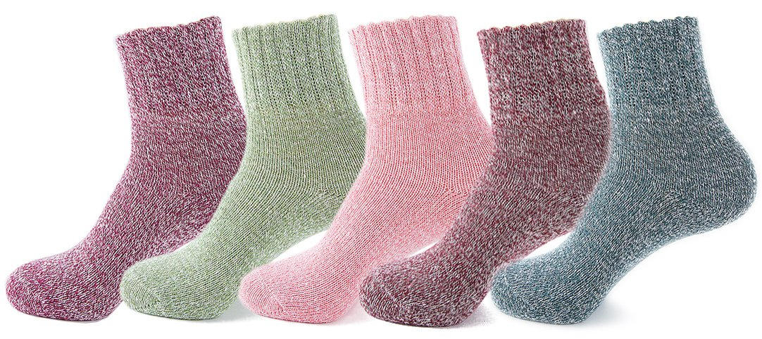 Yuhan Pretty 5 Pairs Womens Winter Warm Thick Knit Wool Cozy Vintage Crew Socks (Style 2, 5PCS)