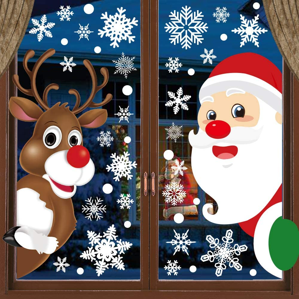 HINZER 310Pcs Christmas Window Clings Christmas Window Decorations Xmas Window Flakes Christmas Decals for Home Deer Santa Claus and Snowflakes