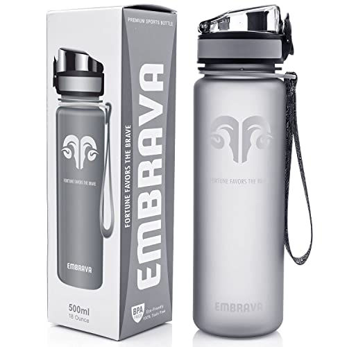 Best Sports Water Bottle - 18oz Small - Eco Friendly & BPA-Free Plastic - For Running, Gym, Yoga, Outdoors and Camping - Fast Water Flow, Flip Top, Opens With 1-Click - Reusable with Leak-proof Lid