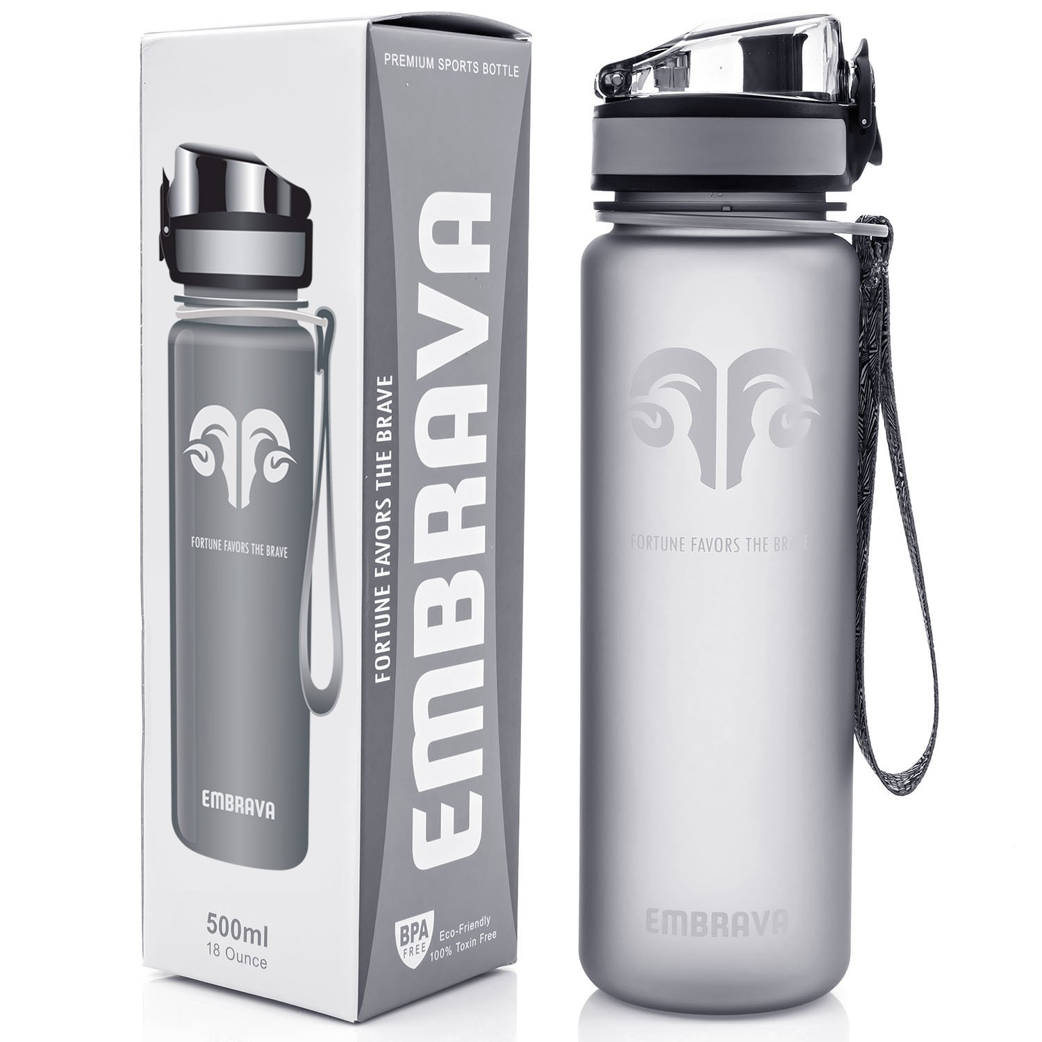 Best Sports Water Bottle - 18oz Small - Eco Friendly & BPA-Free Plastic - Fast Water Flow, Flip Top Lid, Opens With 1-Click