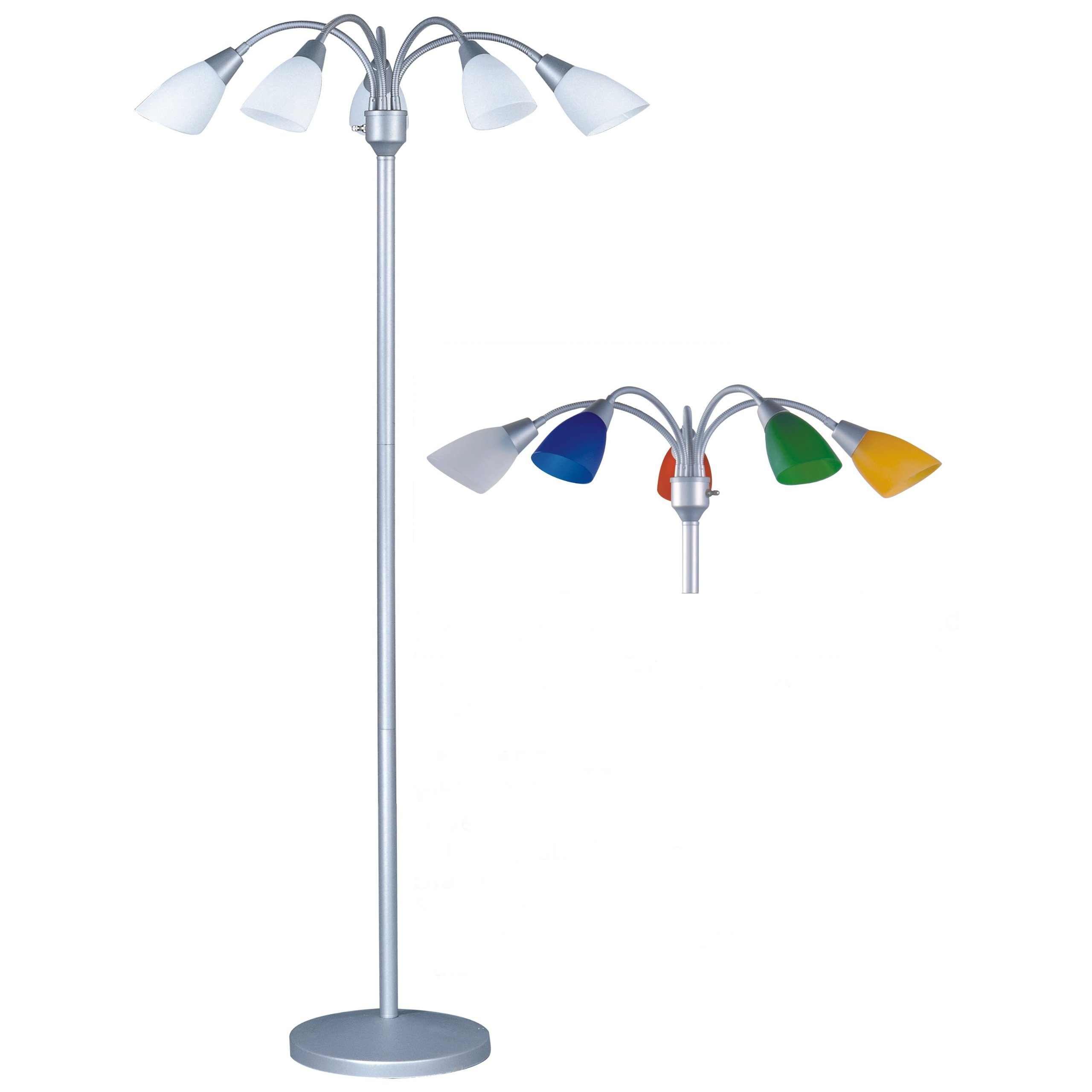 Park Madison Lighting PMF-4655-60 70'' Tall 5 Light Floor Lamp with Fully Adjustable Arms and White and Color Shades Included, 14'' x 13'' x 17''