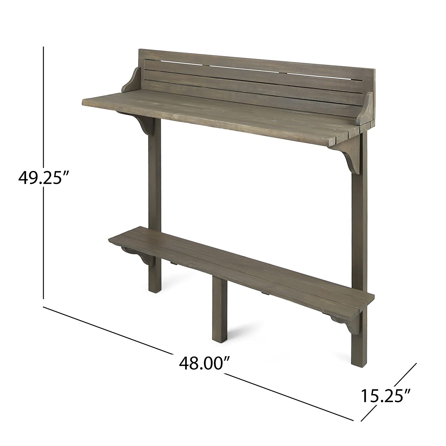Grey Finish Christopher Knight Home 304145 Caribbean Balcony Bar Table