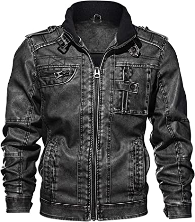 NEW Men/'s PU Leather Washed Jackets Zipper Slim Fit Biker Motorcycle Jacket Coat